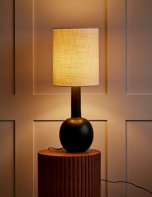 Tall Black and Ecru Table Lamp