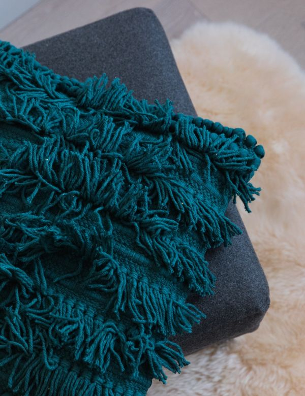 Tallara Fringed Cushion - Teal