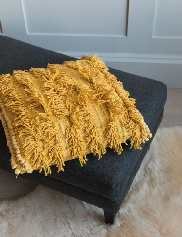 Tallara Fringed Cushion - Mustard