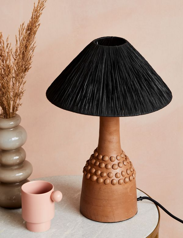 Tan Bobbled Terracotta Table Lamp with Black Raffia Shade