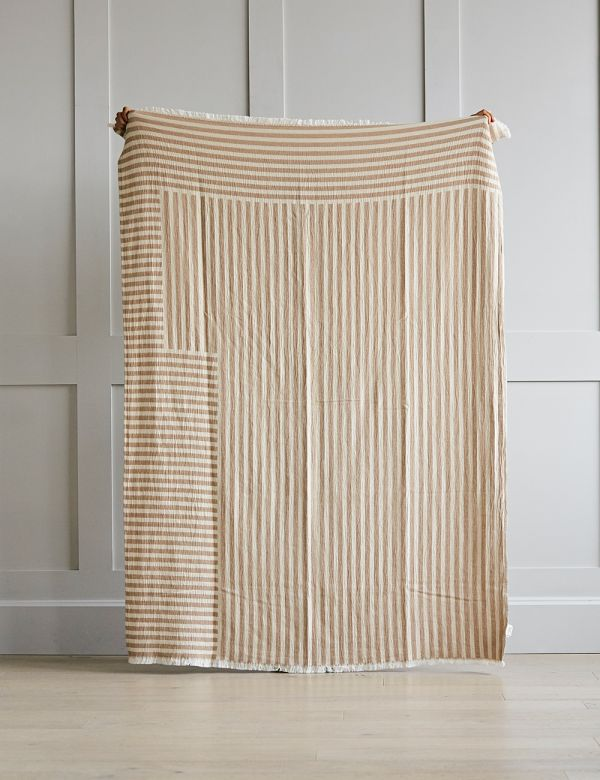 Tan Organic Cotton Striped Throw
