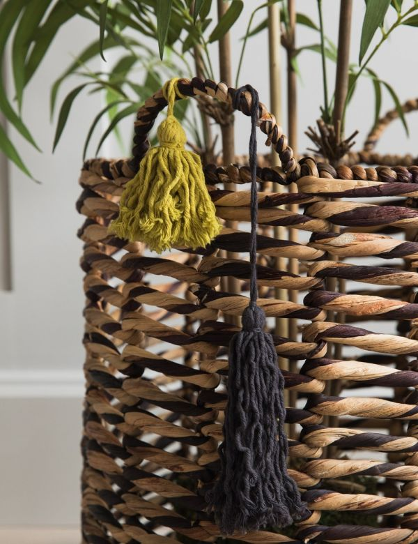Tasseled Wicker Baskets - Set of Two