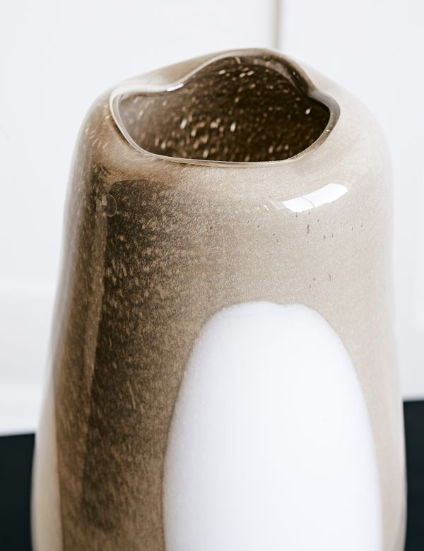 Taupe Mouthblown Glass Dot Vase
