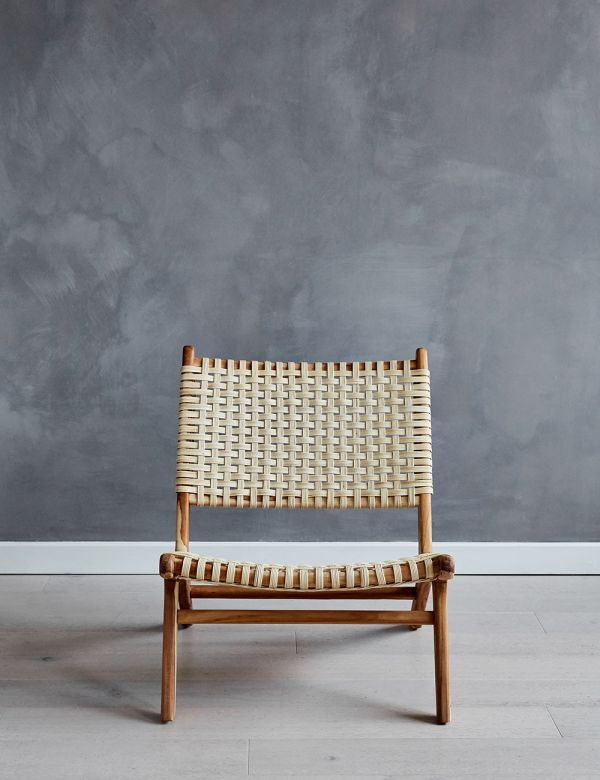 Teak & Rattan Lounge Chair