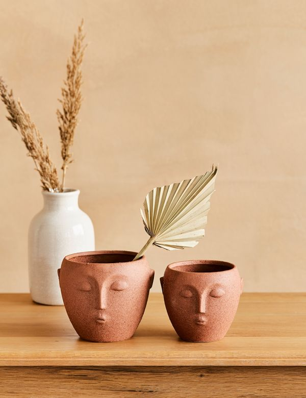 Terracotta Face Plant Pot - Two Sizes Available