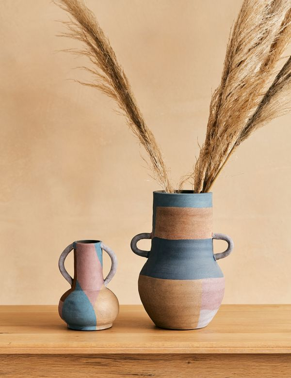 Terracotta Striped Vase - Two Sizes Available