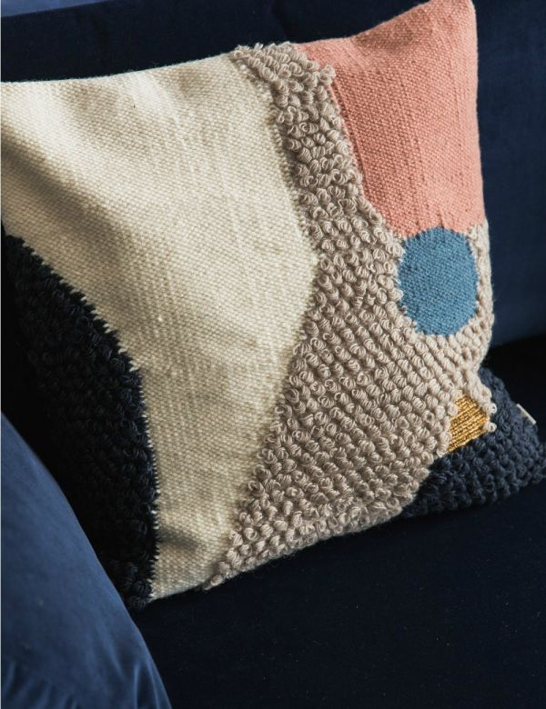 Ferm Living Textured Wool Abstract Cushion
