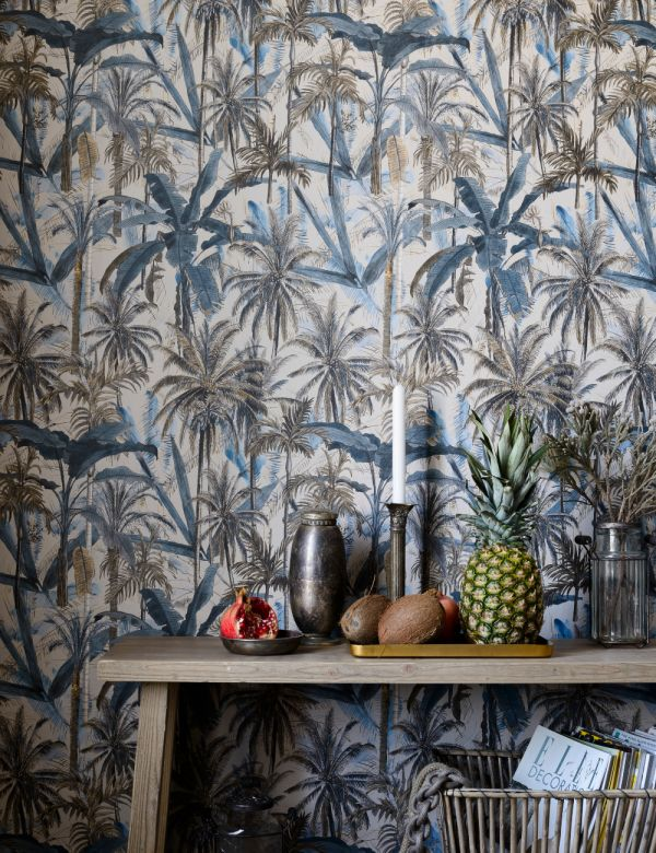 Mind The Gap Wallpaper Collection - The Jungle Smoke Blue