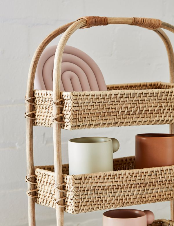 Three Tier Rattan Storage Basket