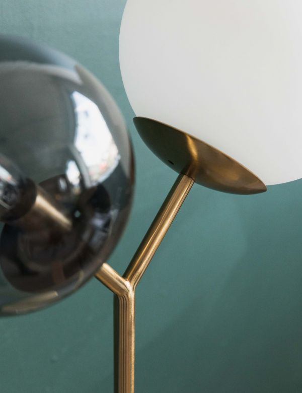 Trevi Brass & Grey Glass Table Lamp