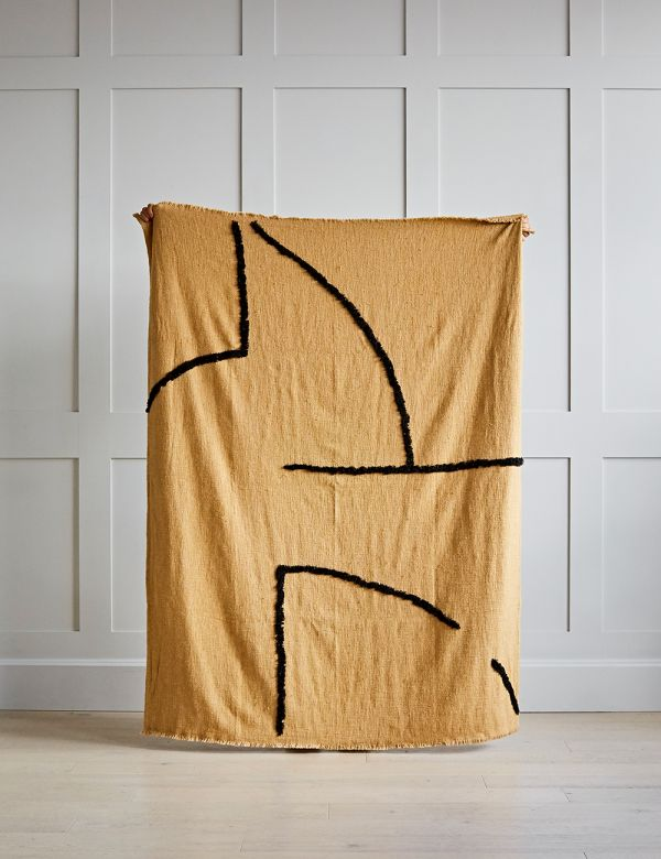 Tufted Ochre and Black Woven Throw
