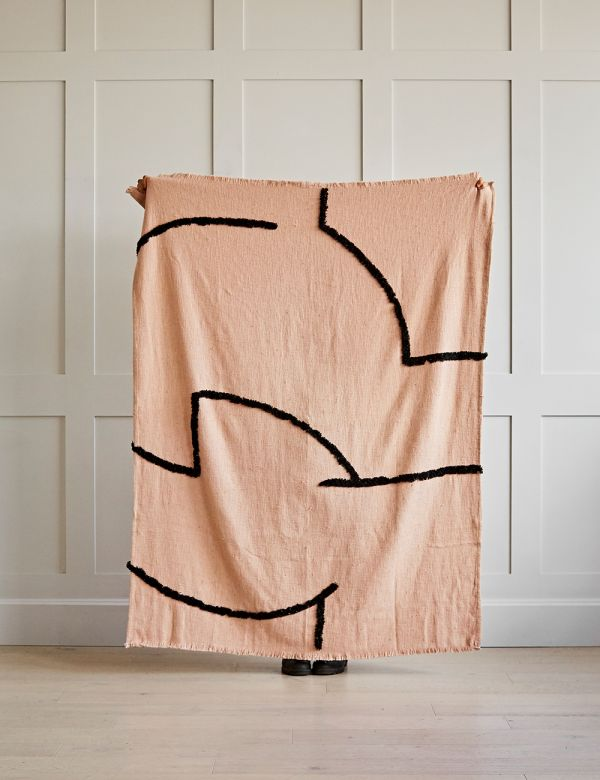 Tufted Nude and Black Woven Throw