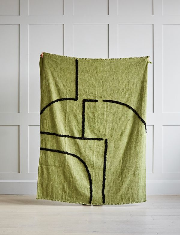 Tufted Pistachio and Black Woven Throw