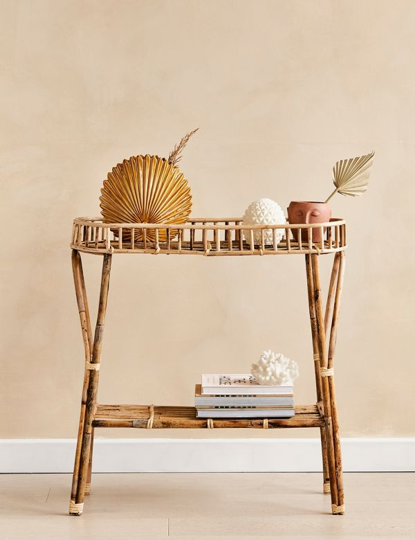 Two Tier Standing Bamboo Shelf