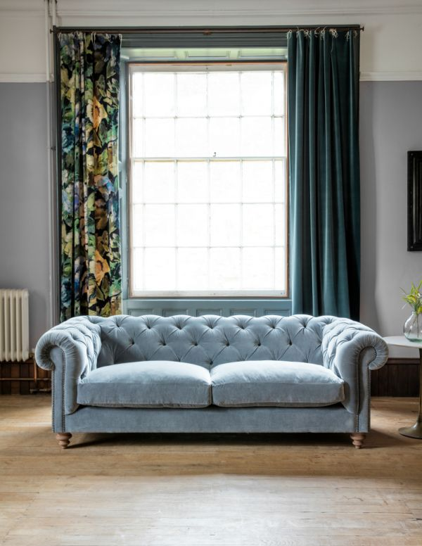 Albert Chesterfield Sofa 2 Seater in Platinum Velvet