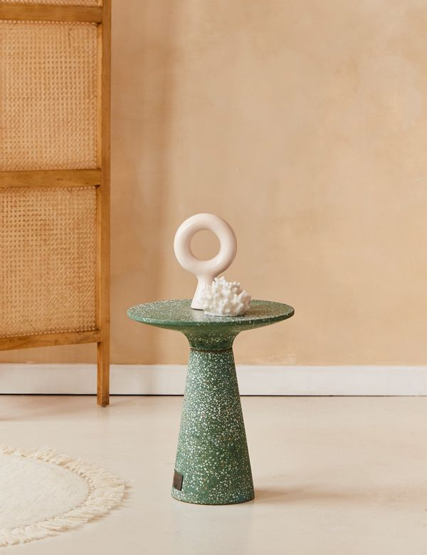 Victoria Green Terrazzo Side Table
