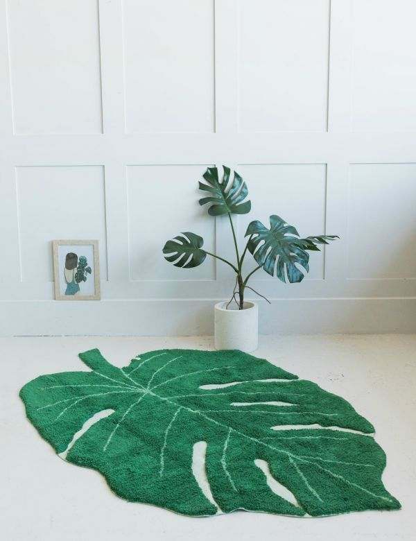 Washable Monstera Leaf Rug