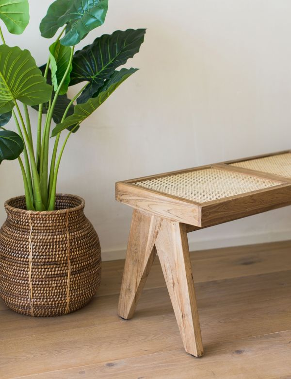 Webbed Cane & Teak Wood Bench