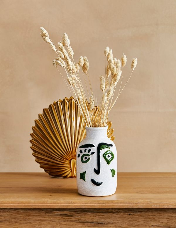 White, Black & Green Face Vase