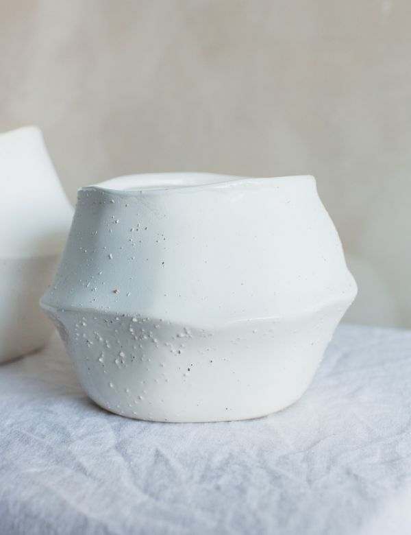 White Ceramic Wave Plant Pot - Three Sizes Available