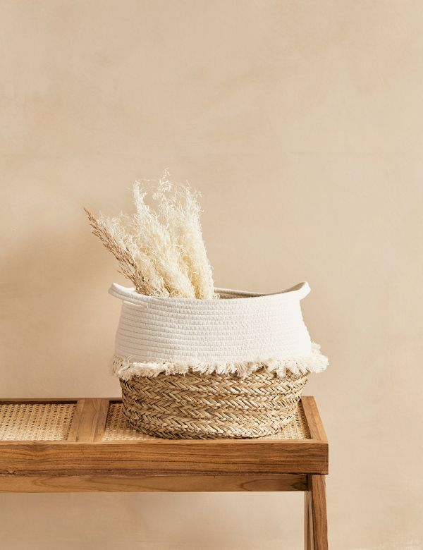 White Cotton & Rope Basket