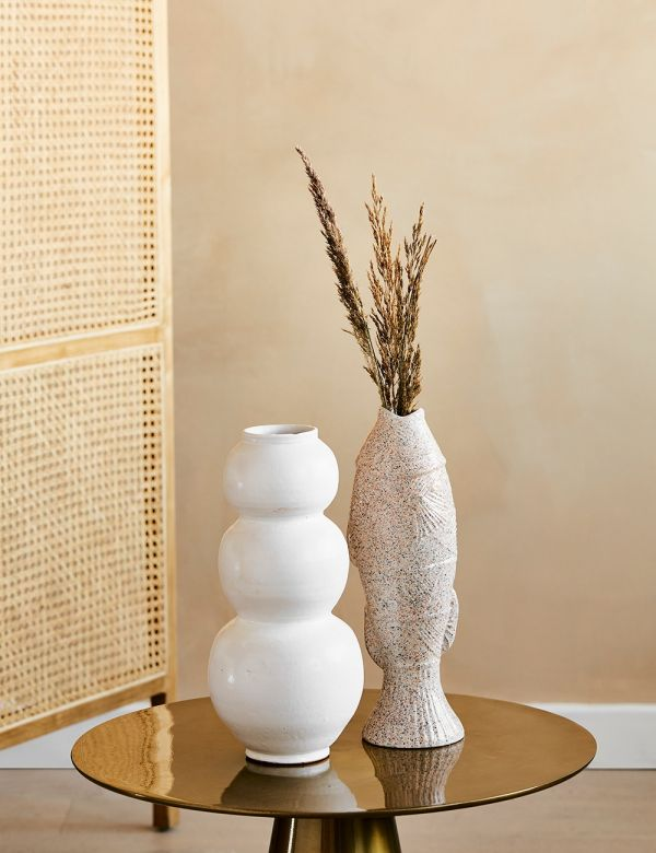 White Curved Ceramic Vase