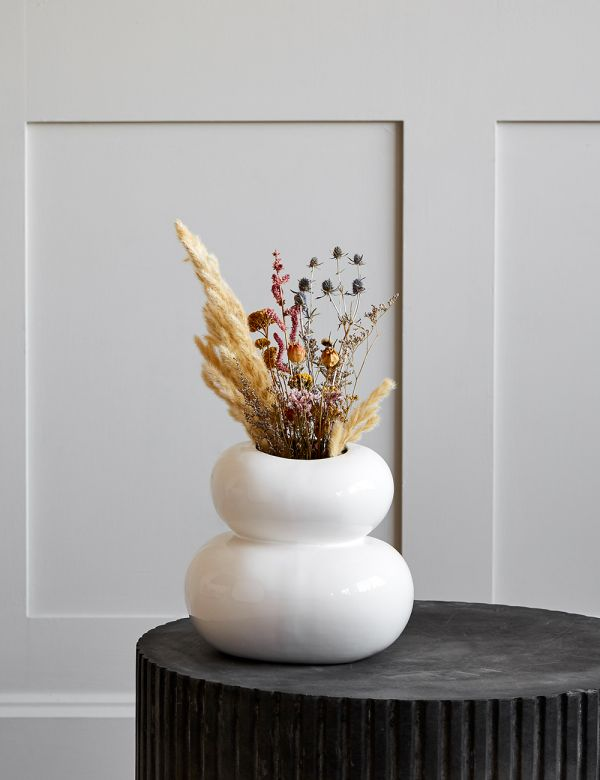 White Earthenware Pebble Vase
