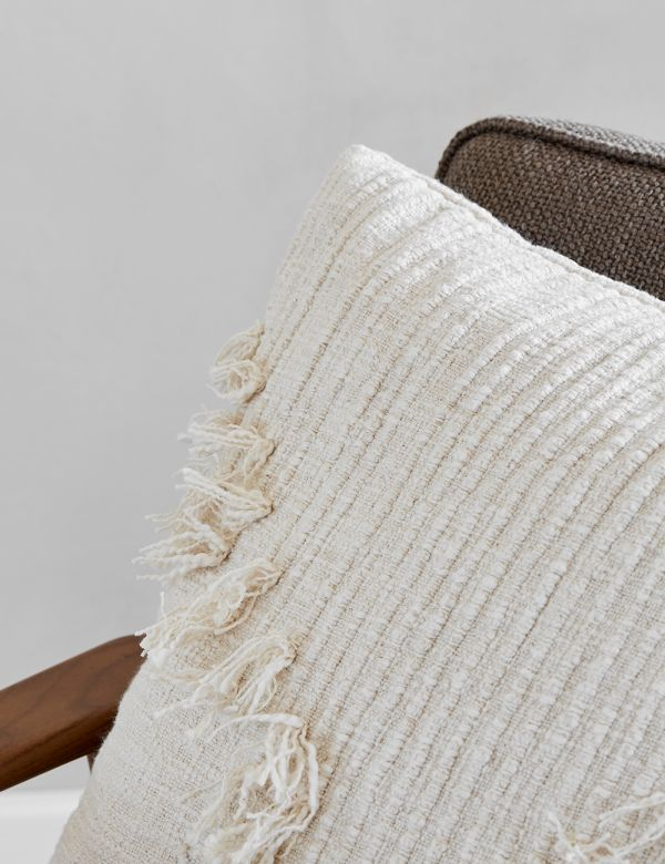 White Fringed Cushion