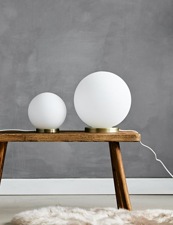 White Glass Ball Table Lamp - Two Sizes Available
