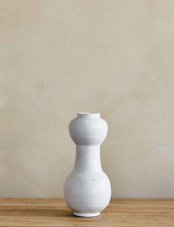 White Hourglass Ceramic Vase