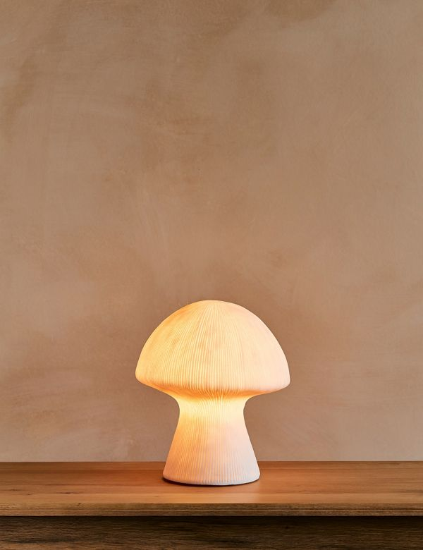 White Sandstone Mushroom Table Lamp