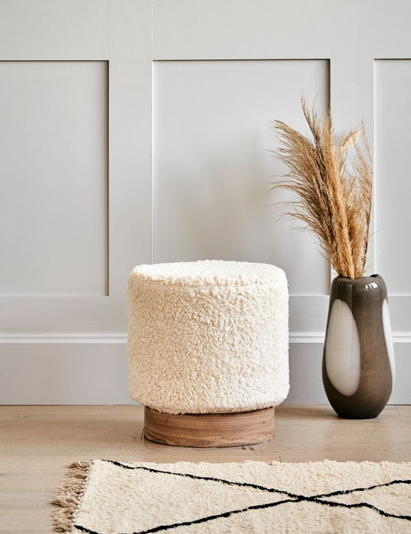 White Sherpa Stool