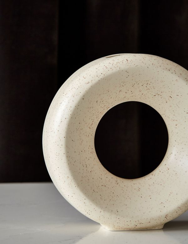White Speckled Ceramic Circle Vase