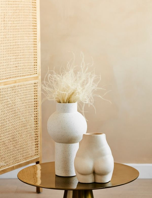 White Speckled Clay Vase