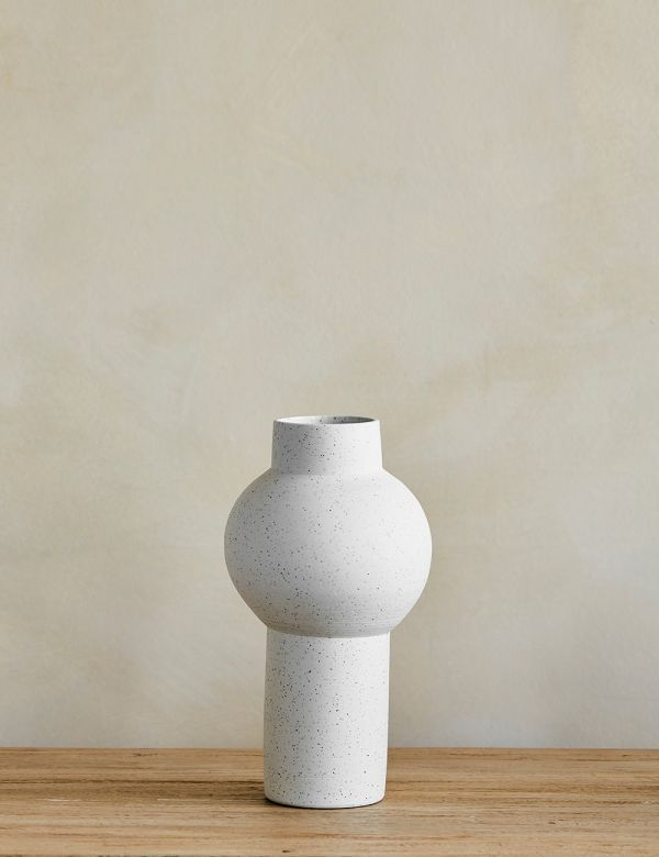 White Speckled Clay Vase on console