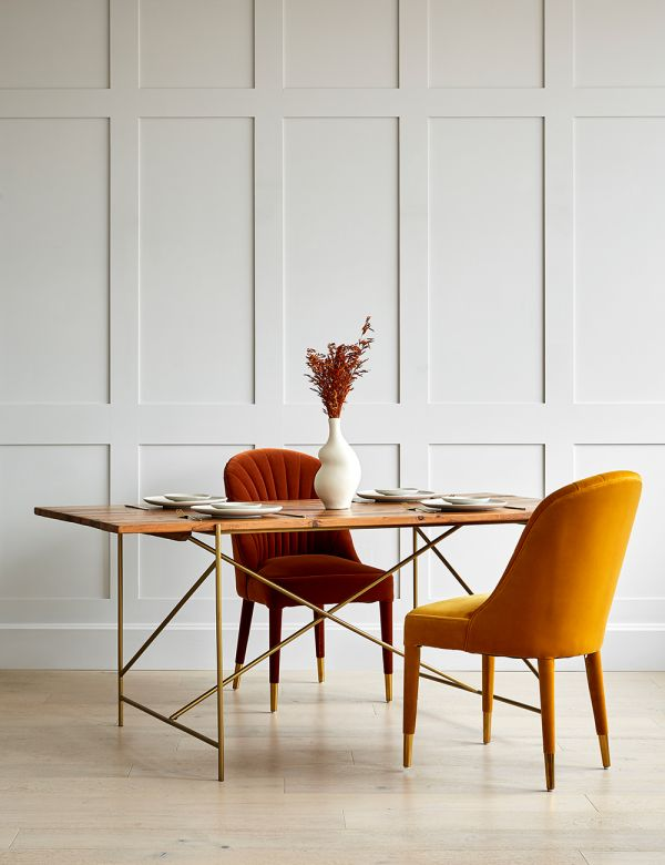 Wood and Gold Dining Table