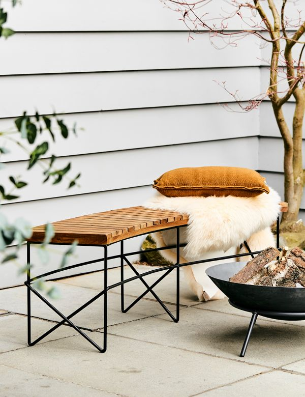 PREORDER Curved Wooden Firepit Bench