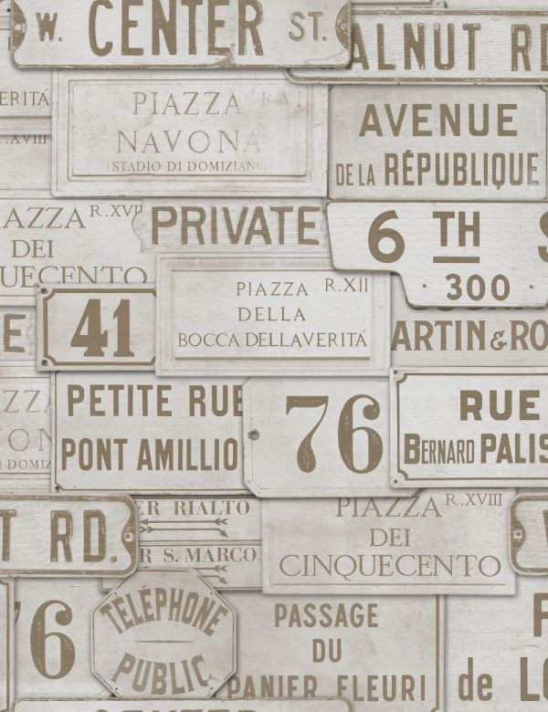 Mind The Gap Wallpaper Collection - Vintage Signs - Taupe