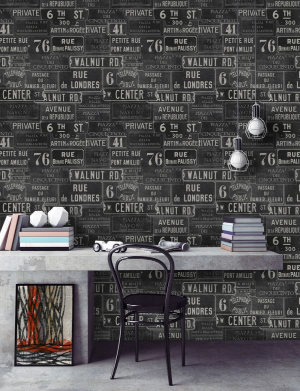 Mind The Gap Wallpaper Collection - Vintage Signs - Black