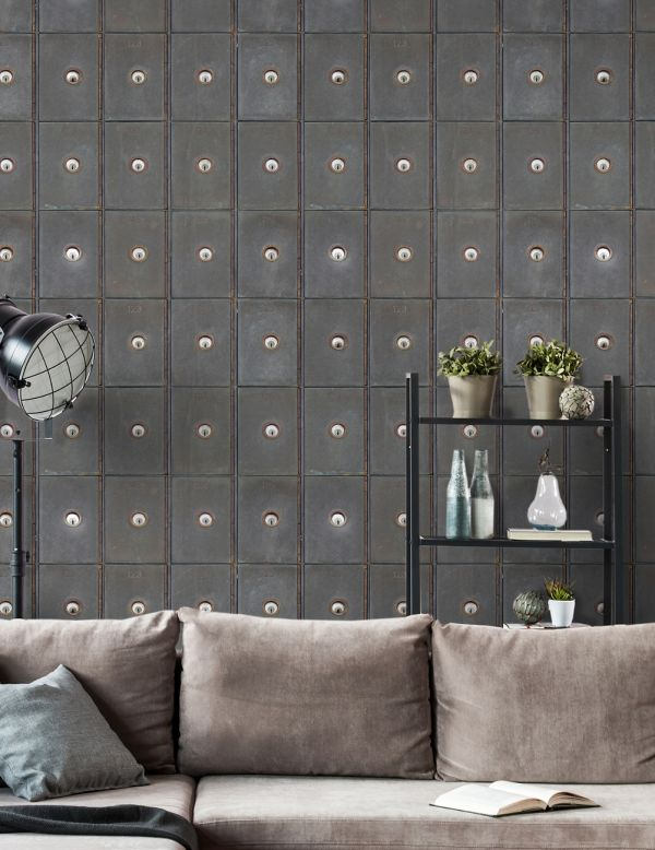 Mind The Gap Wallpaper Collection - Industrial Metal Cabinets