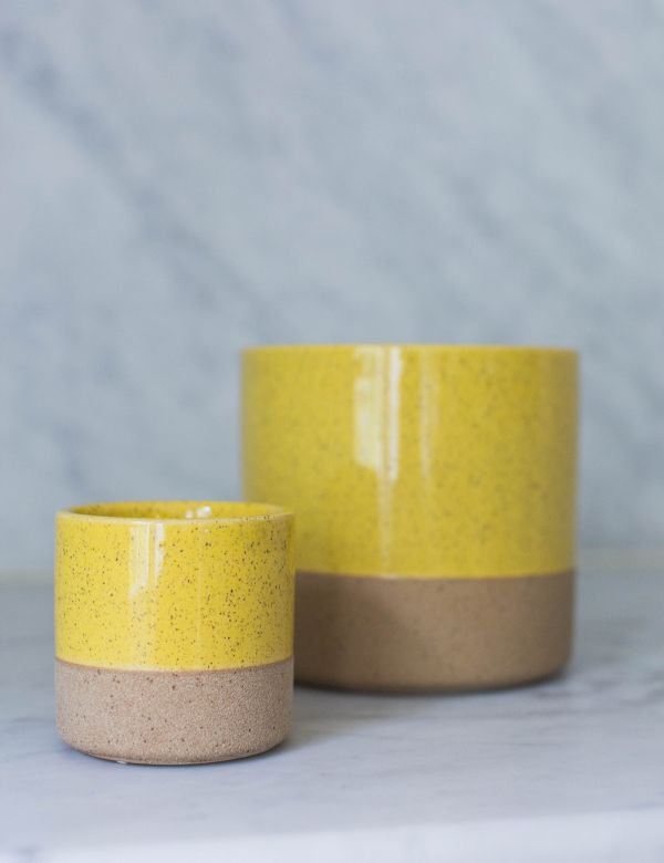 Yellow Two-Tone Plant Pot - Two Sizes Available