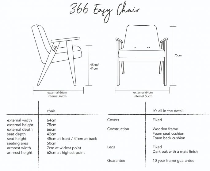 Jozef Chierowski 366 Easy Chair in Graphite Velvet Dimensions