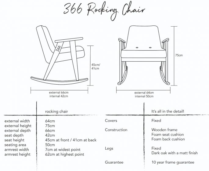 Jozef Chierowski 366 Rocking Chair Dimensions