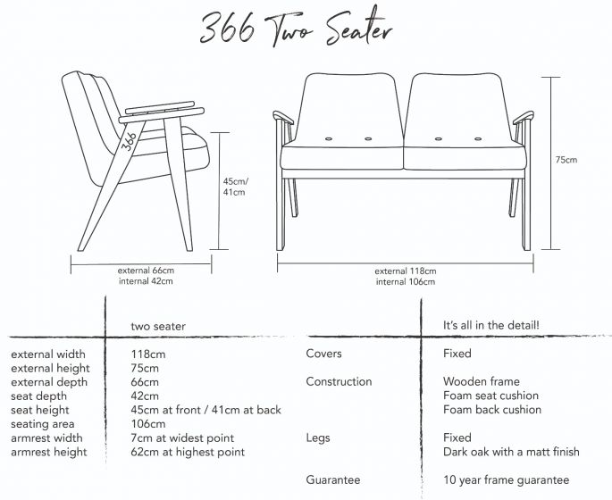Jozef Chierowski 366 Two Seater Sofa Dimensions