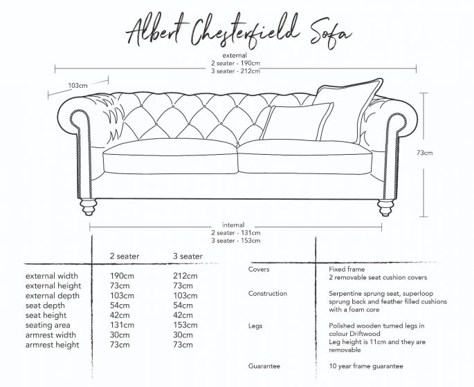 Albert Chesterfield Sofa  Dimensions