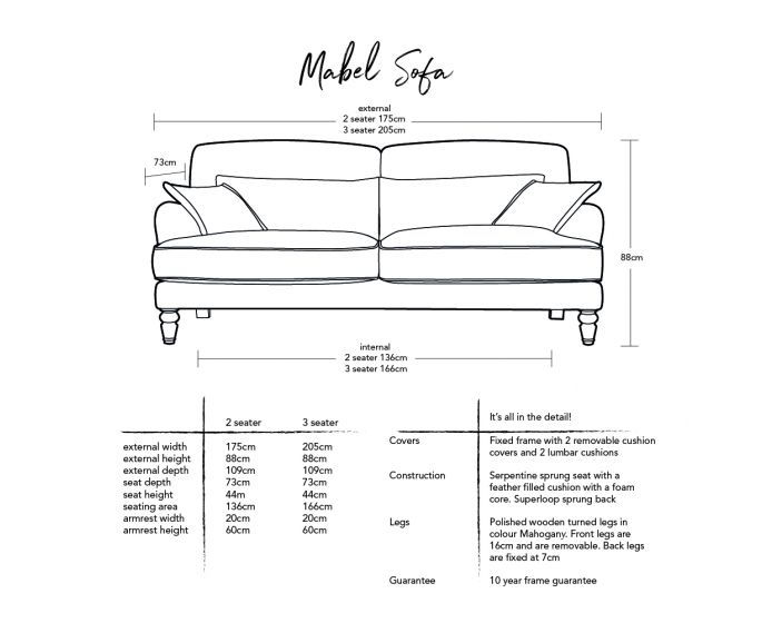 Mabel Sofa  Dimensions