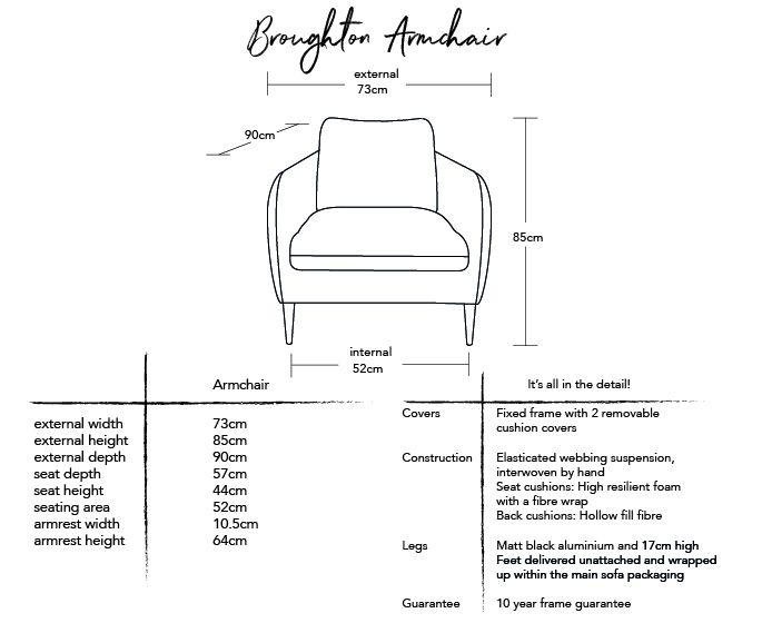 Broughton Armchair Dimensions