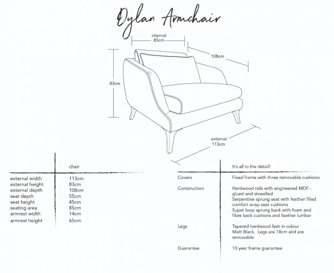 Dylan Armchair  Dimensions