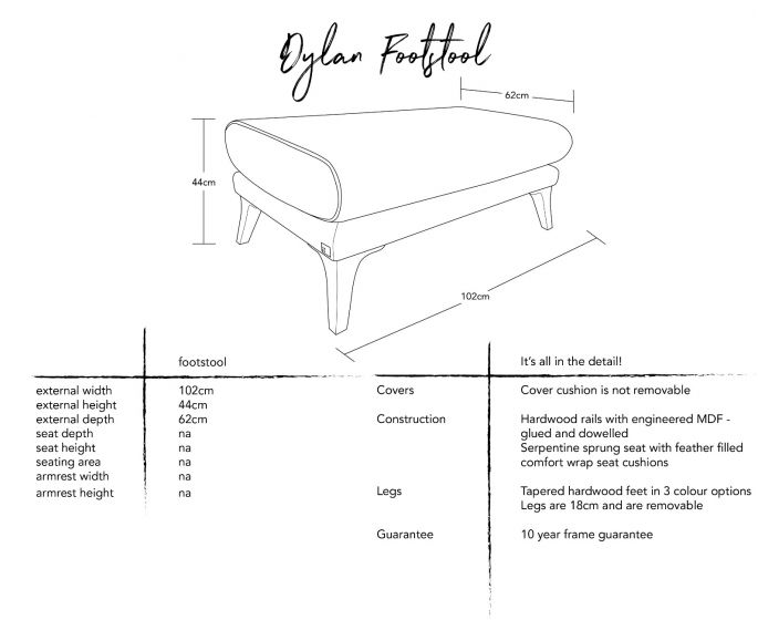 Dylan Footstool Dimensions