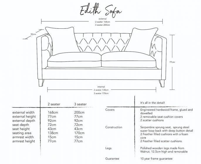 Edith Button-and-Stud Sofa Dimensions